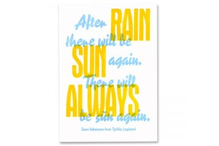 zweifarbige Bleisatz-Postkarte »After rain, there will be sun again«, Reporter und Aurora